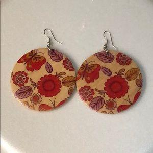 Wooden boho earrings, New/no tags